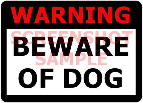 Beware of Dog sign, sample
