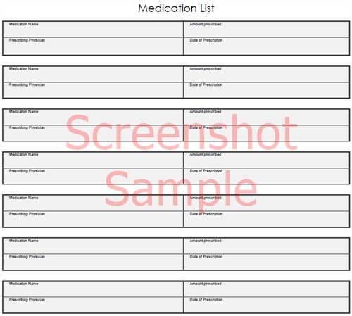 Medication List, sample