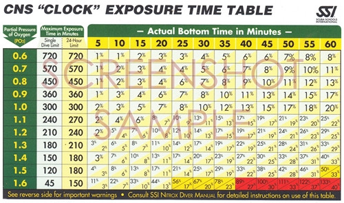 SSI CNS Clock Exposure Time Tables, sample